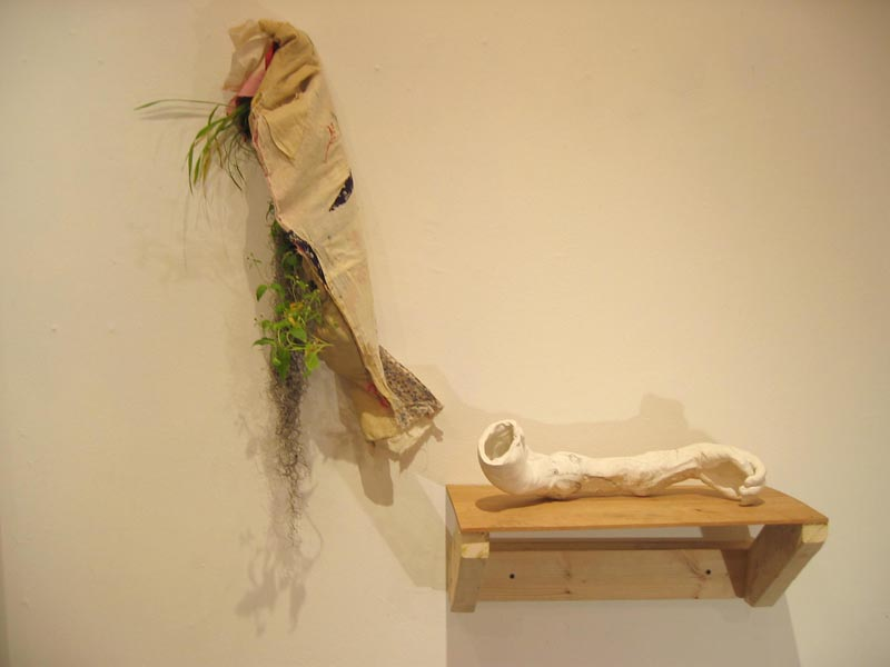 fabric and live plant panel, ceramic arm, wooden shelf