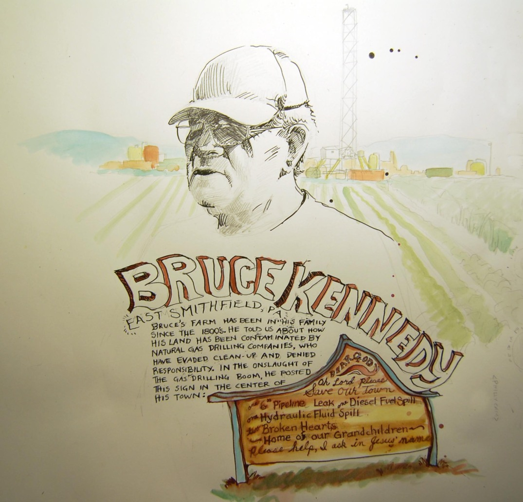 Ink and watercolor drawing of a farmer in front of a drill pad