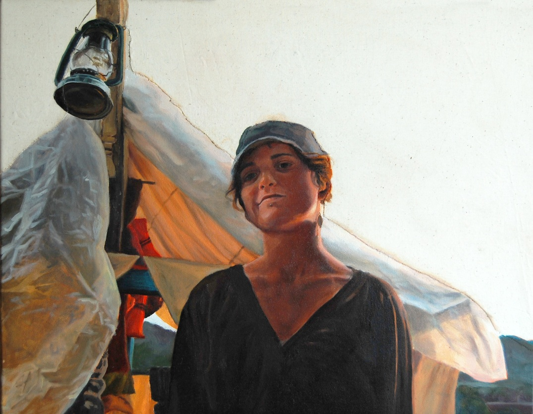 A painting of a woman in front of a raft with a tent and plastic tarp on it.